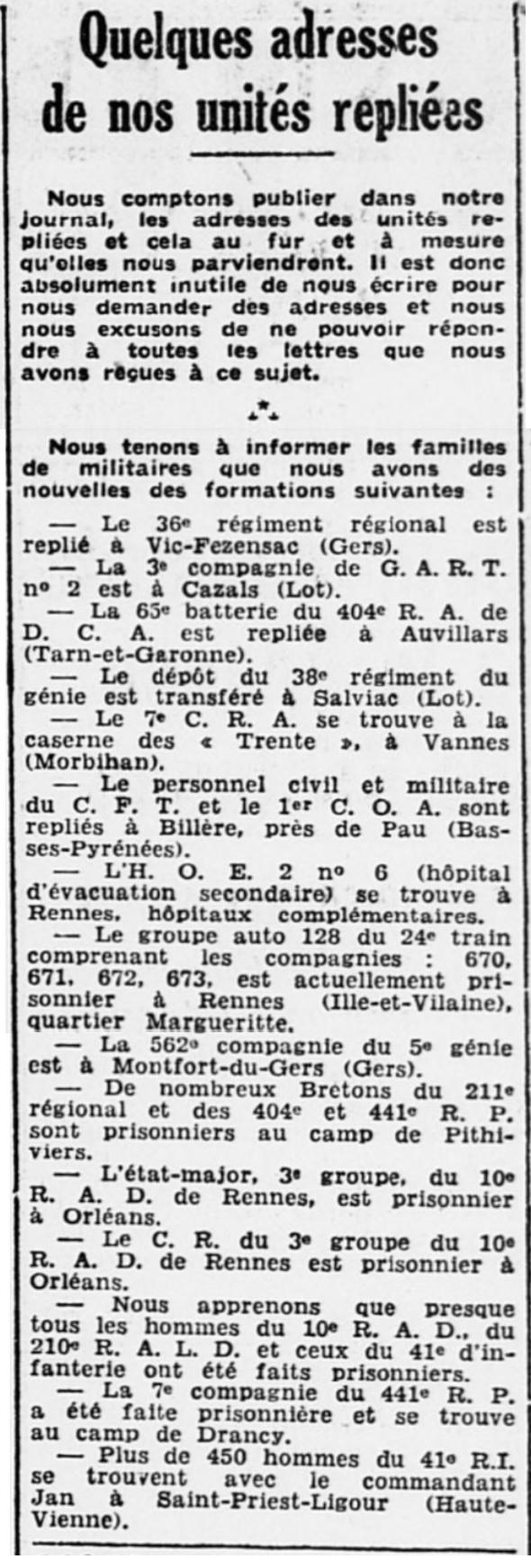 Liste des centres de repli des unités françaises 19400720