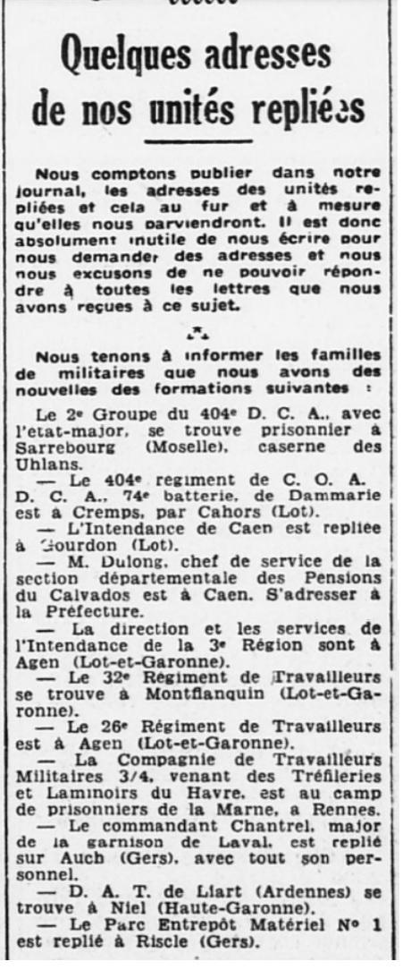 Liste des centres de repli des unités françaises 19400721