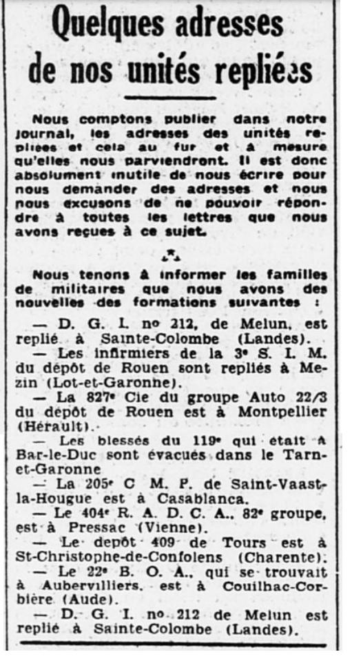 Liste des centres de repli des unités françaises 19400722