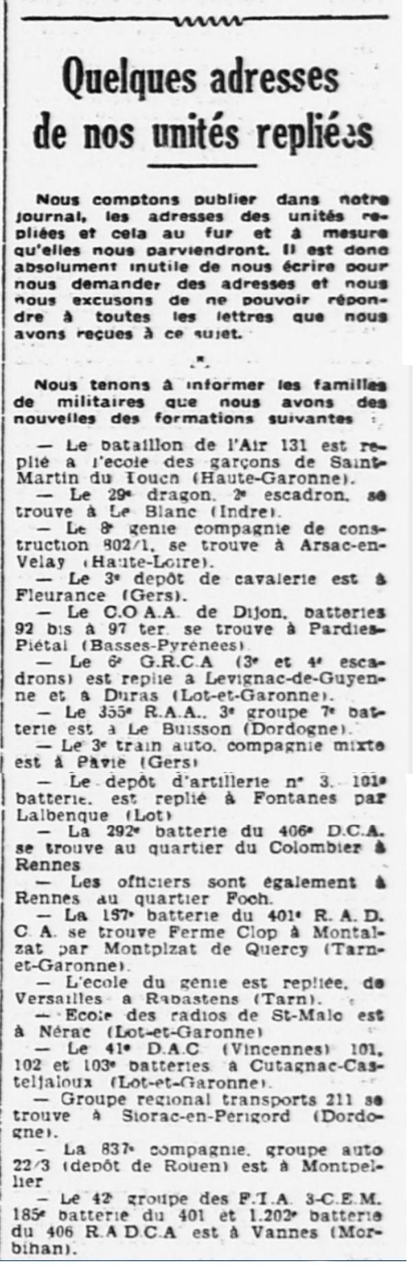 Liste des centres de repli des unités françaises 19400723
