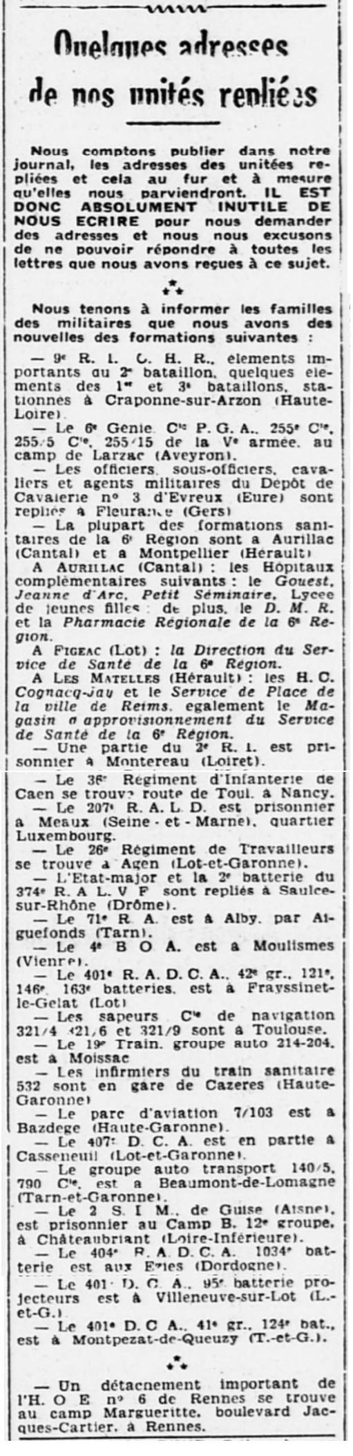 Liste des centres de repli des unités françaises 19400724