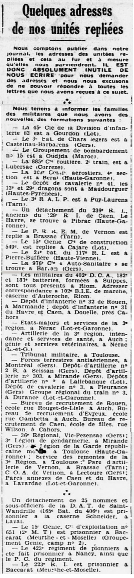 Liste des centres de repli des unités françaises 19400725