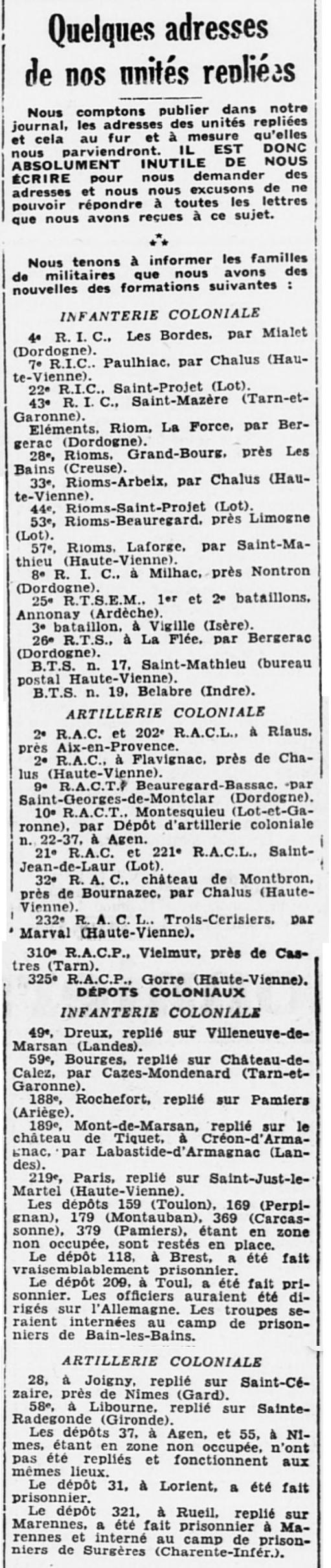 Liste des centres de repli des unités françaises 19400726