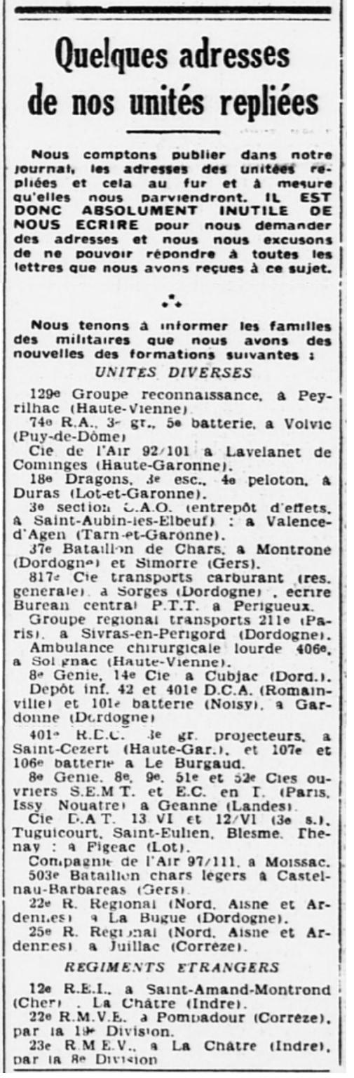 Liste des centres de repli des unités françaises 19400727