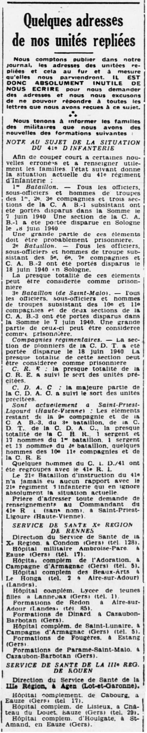 Liste des centres de repli des unités françaises 19400728