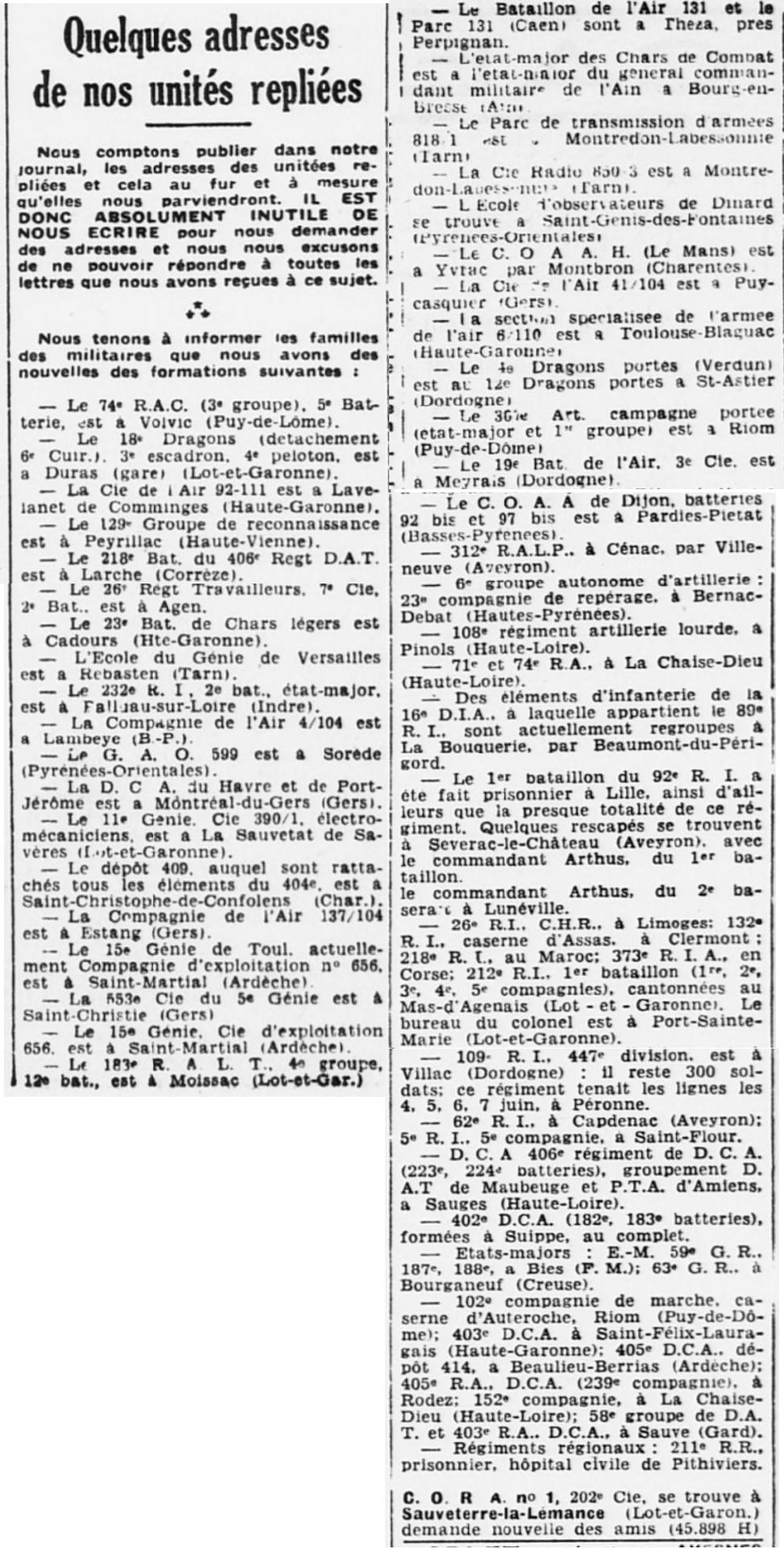 Liste des centres de repli des unités françaises 19400729