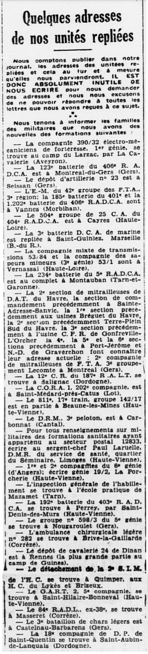 Liste des centres de repli des unités françaises 19400730