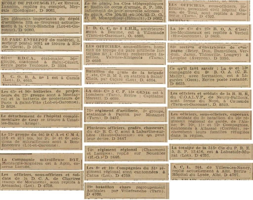Liste des centres de repli des unités françaises 19400735