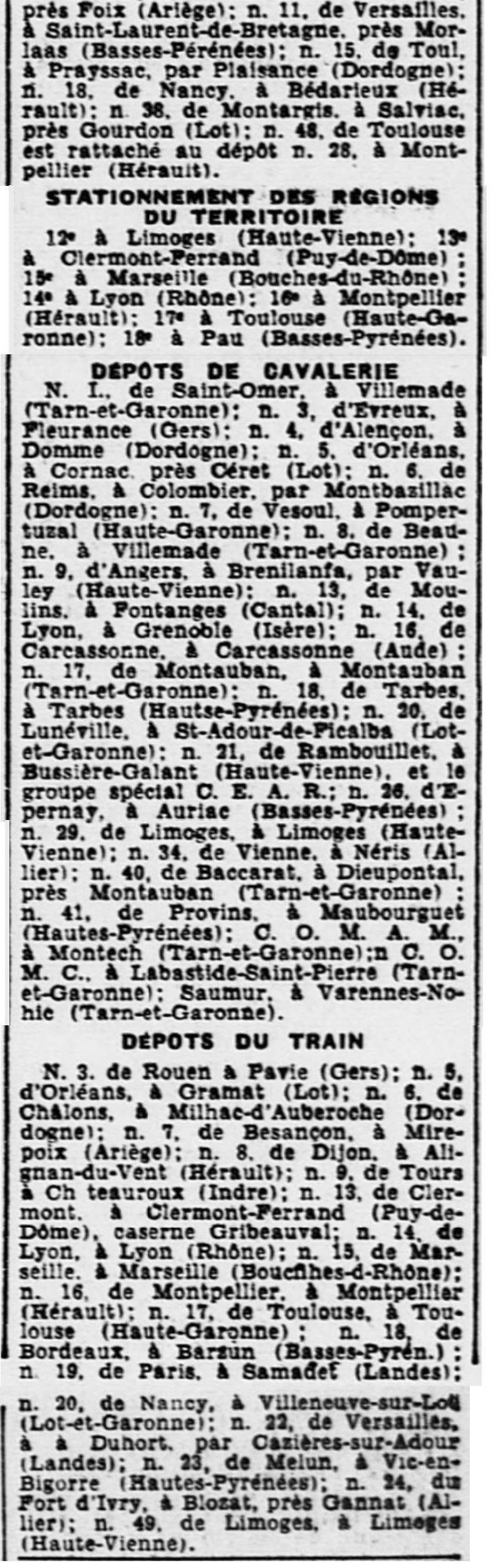 Liste des centres de repli des unités françaises 19400810