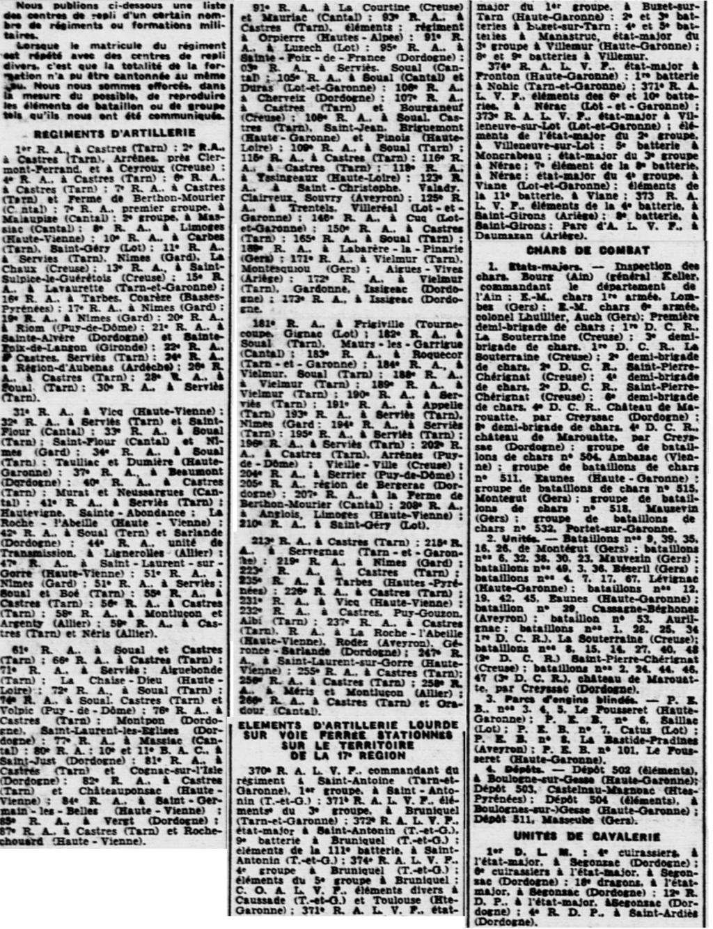 Liste des centres de repli des unités françaises 19400811