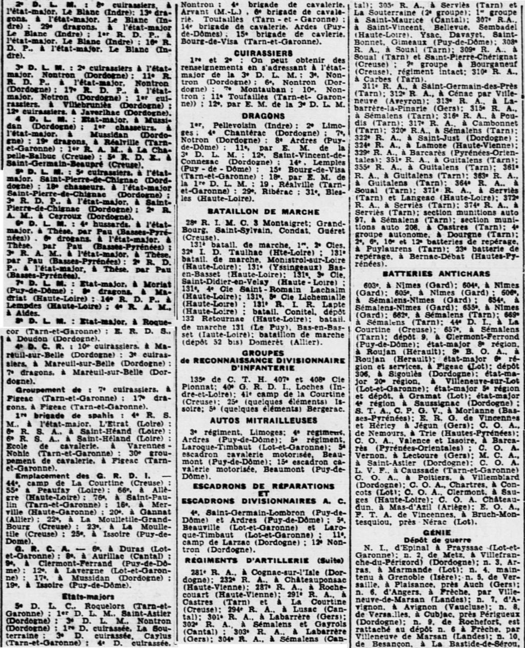 Liste des centres de repli des unités françaises 19400812