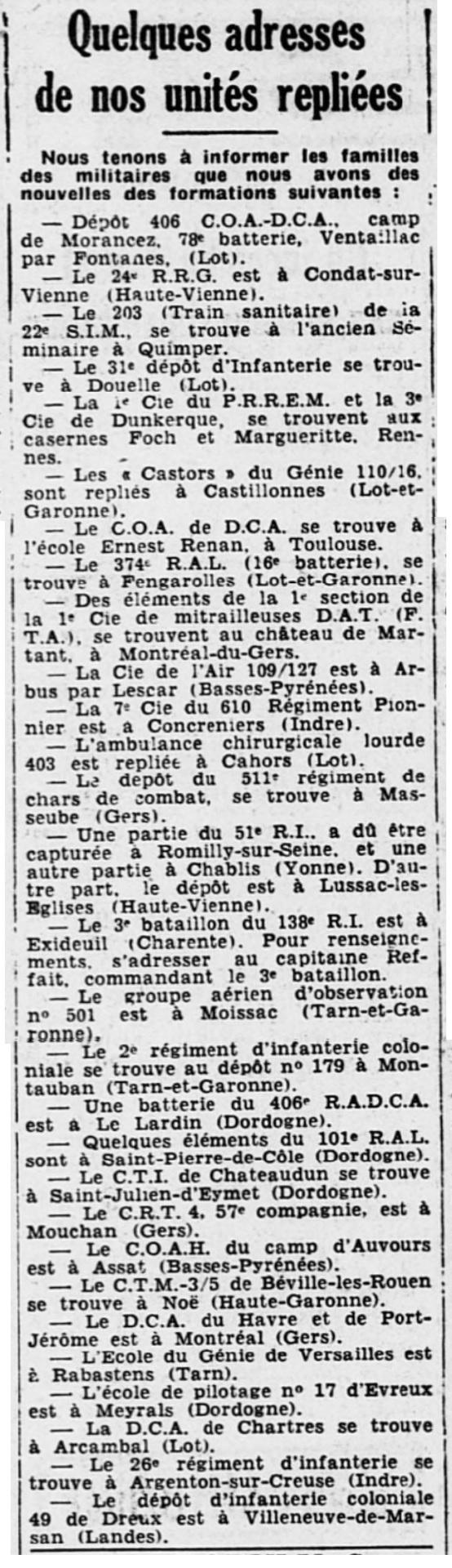 Liste des centres de repli des unités françaises 19400813