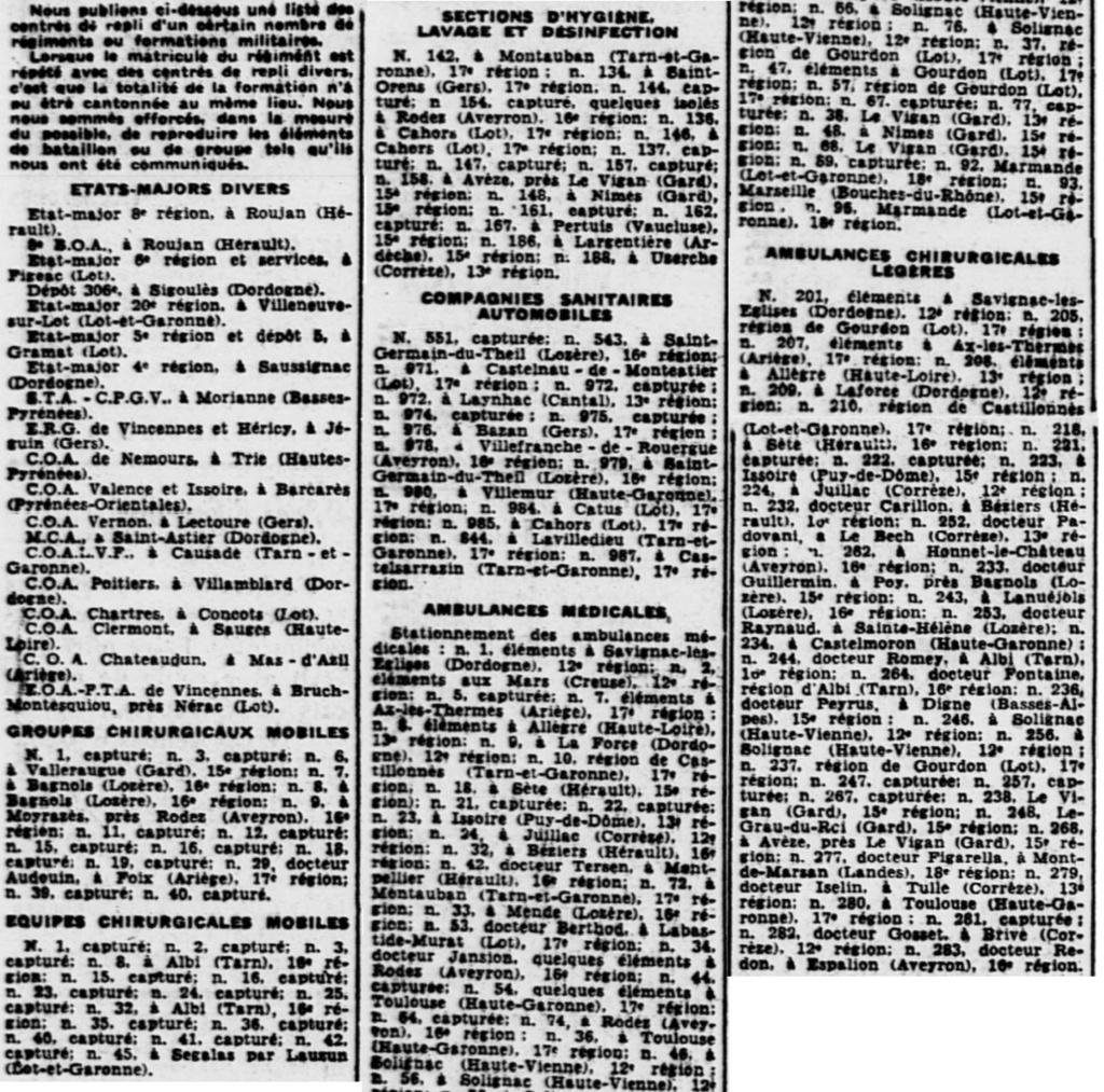 Liste des centres de repli des unités françaises 19400814