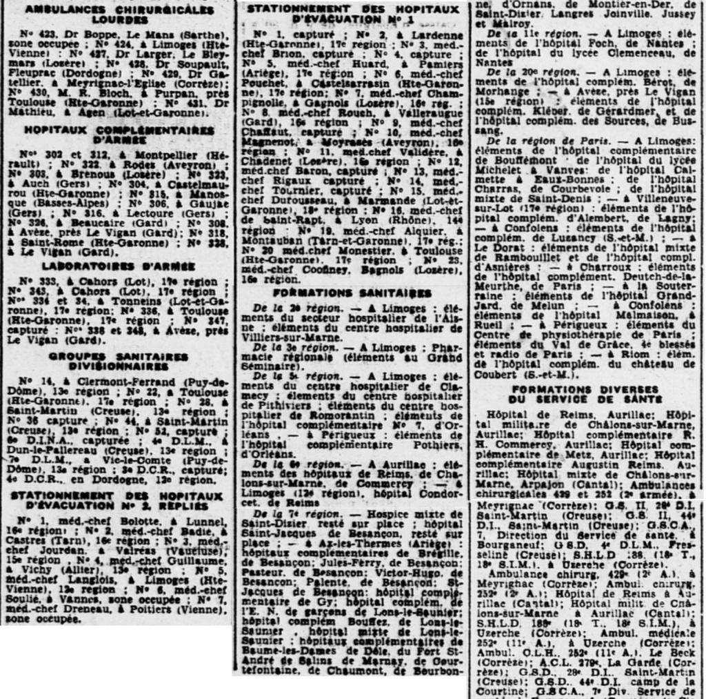 Liste des centres de repli des unités françaises 19400815