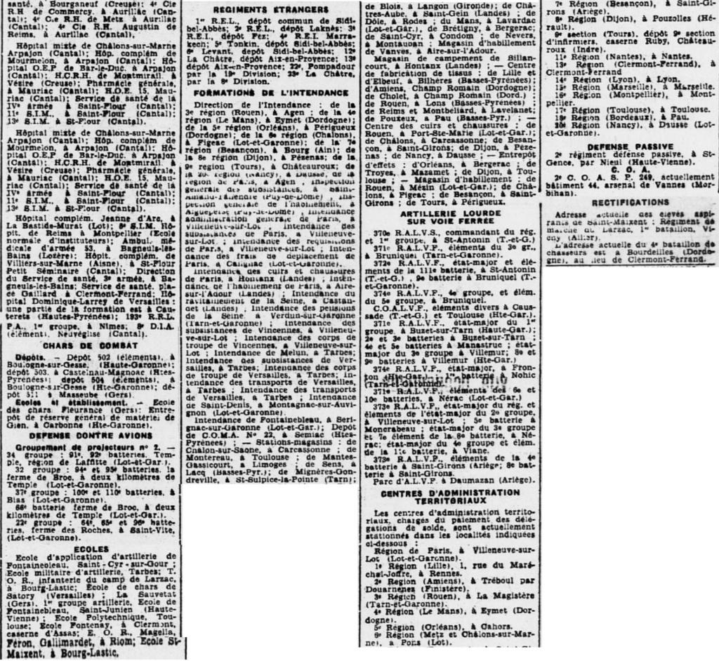 Liste des centres de repli des unités françaises 19400816