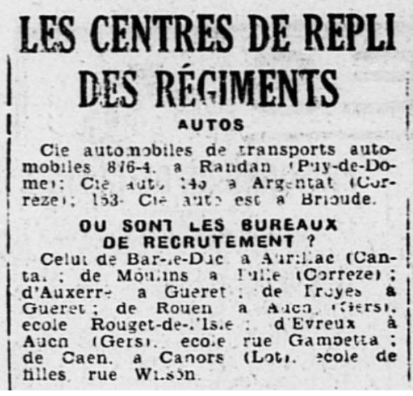 Liste des centres de repli des unités françaises 19400817