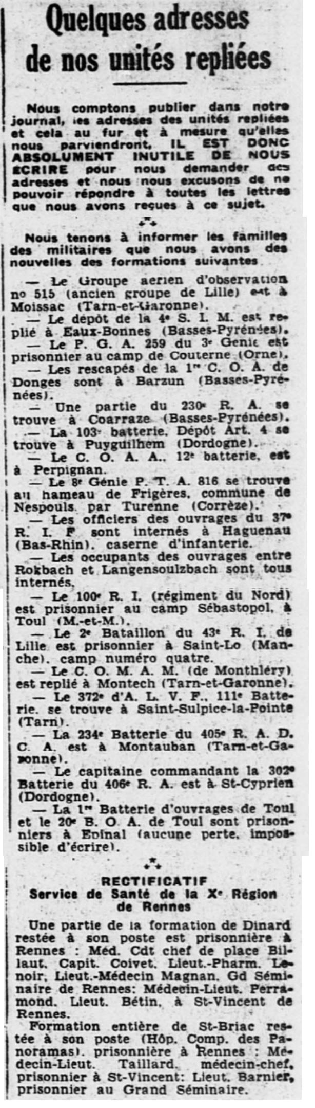 Liste des centres de repli des unités françaises 19400818