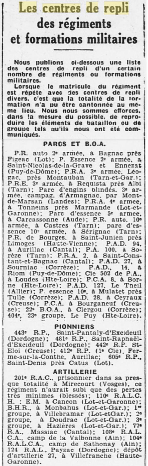 Liste des centres de repli des unités françaises 19400819