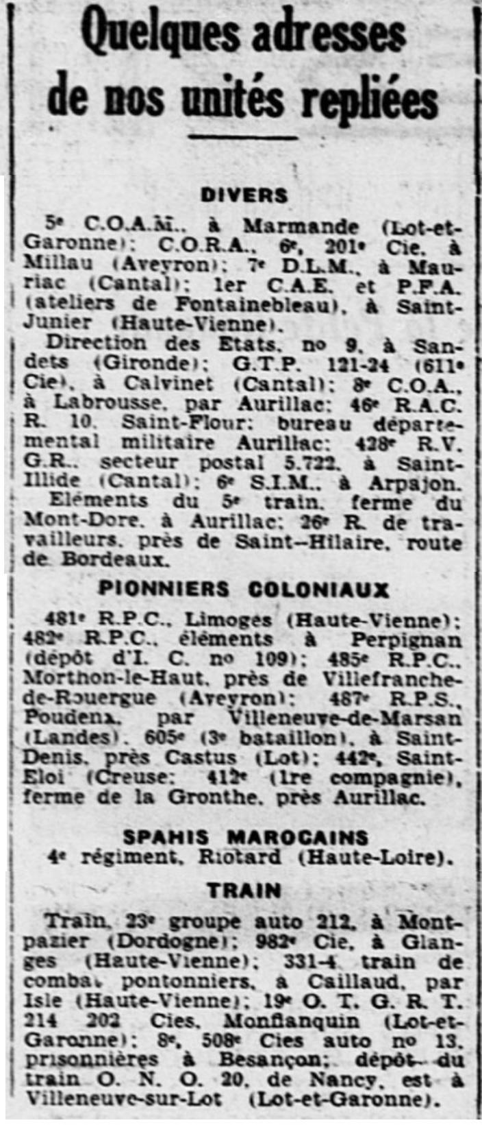 Liste des centres de repli des unités françaises 19400820