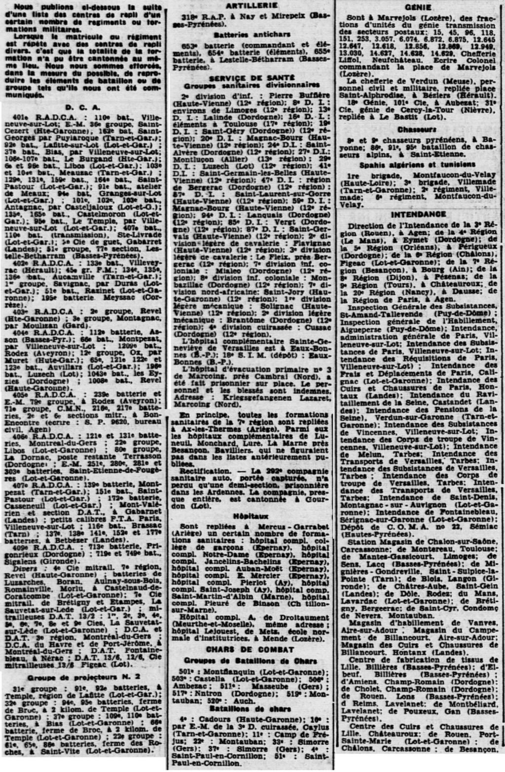 Liste des centres de repli des unités françaises 19400821