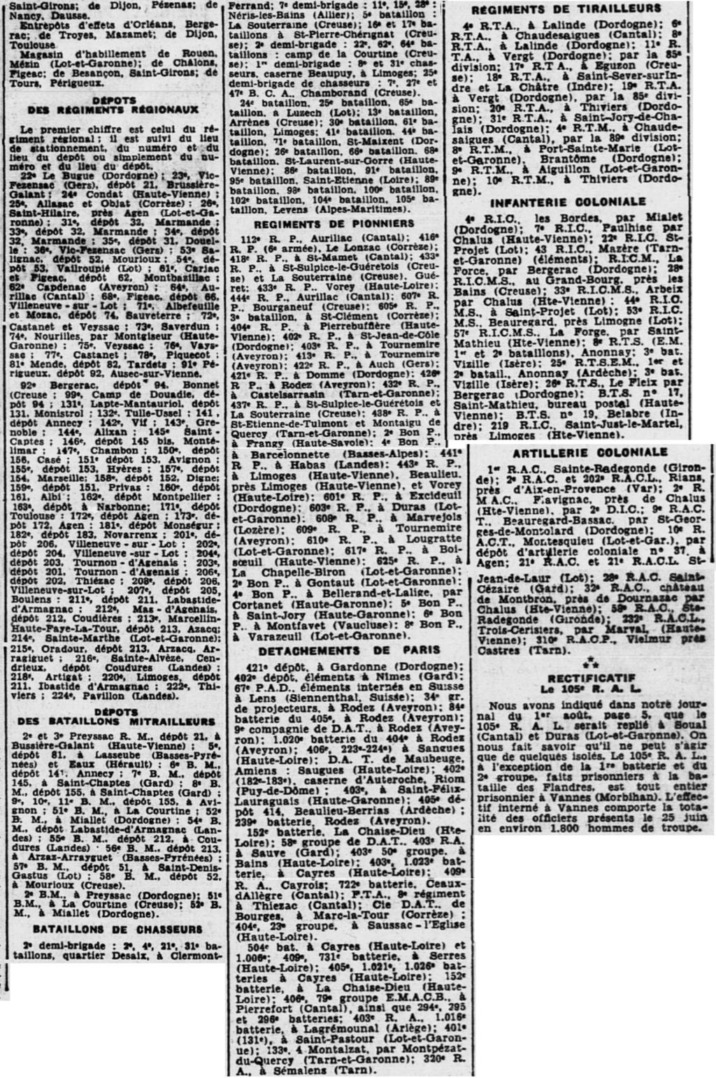 Liste des centres de repli des unités françaises 19400822