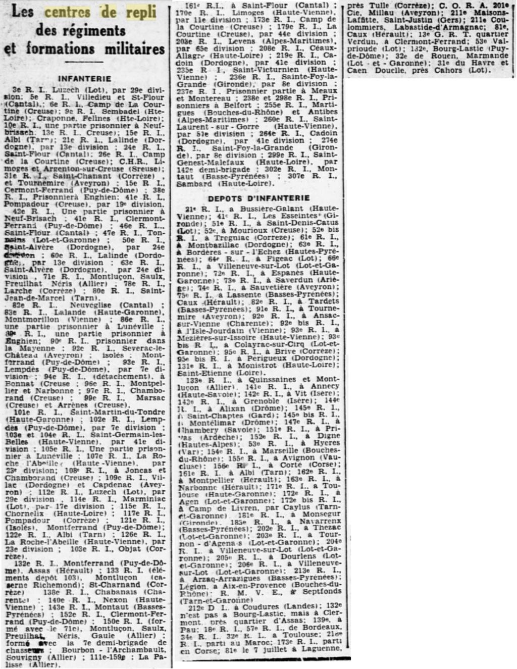 Liste des centres de repli des unités françaises 19400824