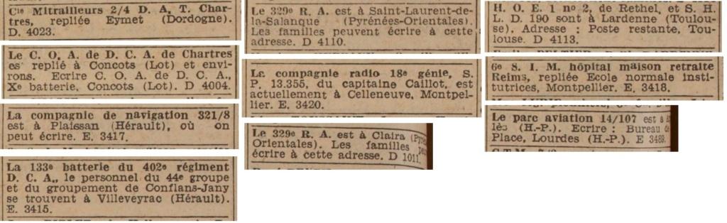 Liste des centres de repli des unités françaises 19400831