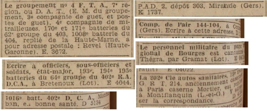 Liste des centres de repli des unités françaises 19400832