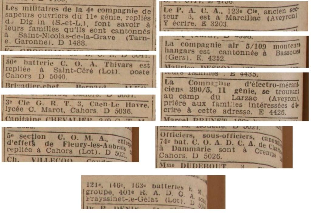 Liste des centres de repli des unités françaises 19400833