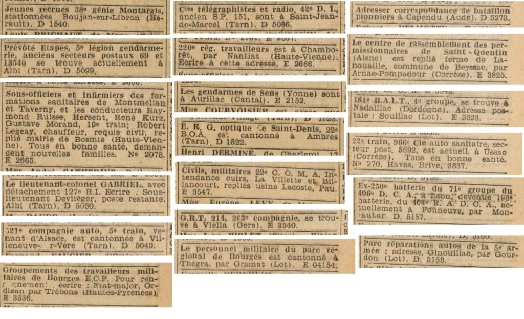 Liste des centres de repli des unités françaises 19400834