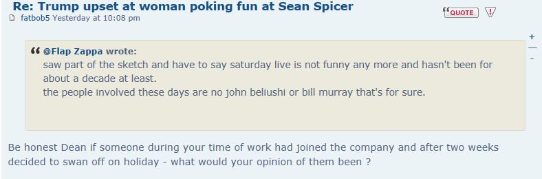 Trump upset at woman poking fun at Sean Spicer Captur25