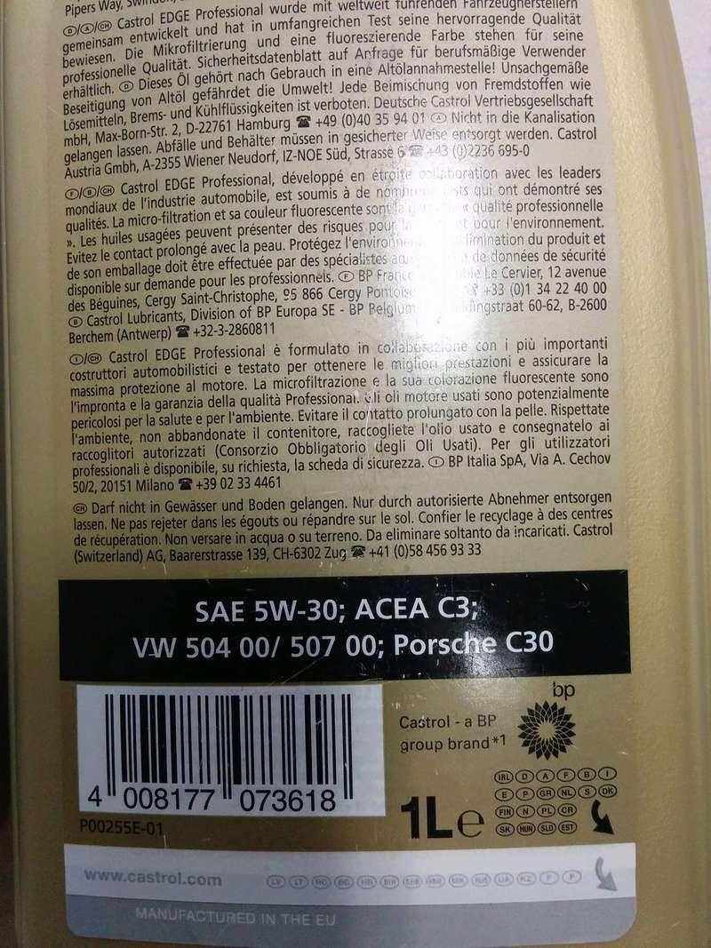 Huile castrol edge pro longlife 5W30 13549110