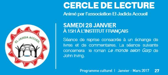 28/01 - Cercle de lecture séance de reprise Institut français d'El Jadida 15 heures Cercle10