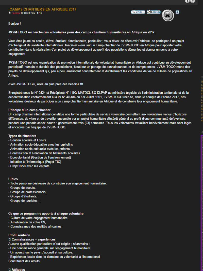 A l'intention des associations d'Aide Humanitaire... 2016-111