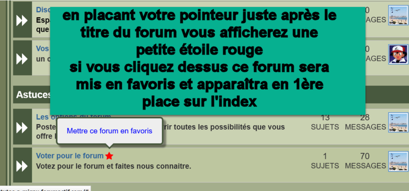 Placer un forum tout en haut en page d'accueil dans les forums favoris Stared10