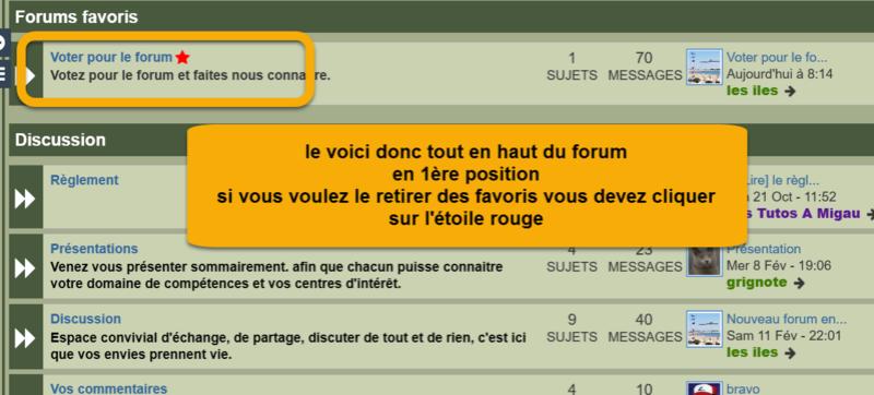 Placer un forum tout en haut en page d'accueil dans les forums favoris Stared11