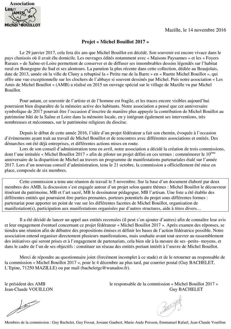 """Questionnaire dans le cadre de la préparation d'événements s'inscrivant dans le projet """"Michel Bouillot 2017"""" qu'elle conduit pour commémorer le 10ème anniversaire de sa disparition. 211"""