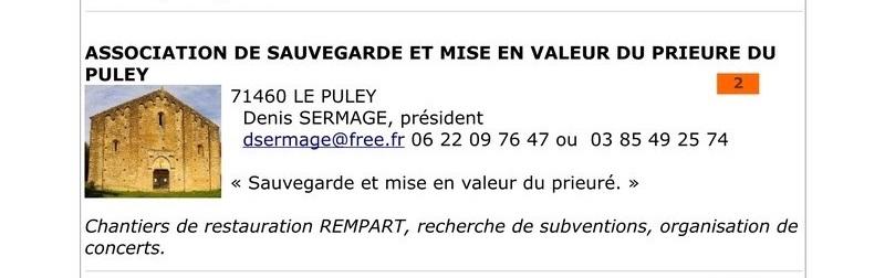 ASSOCIATION DE SAUVEGARDE ET MISE EN VALEUR DU PRIEURE DU PULEY 213