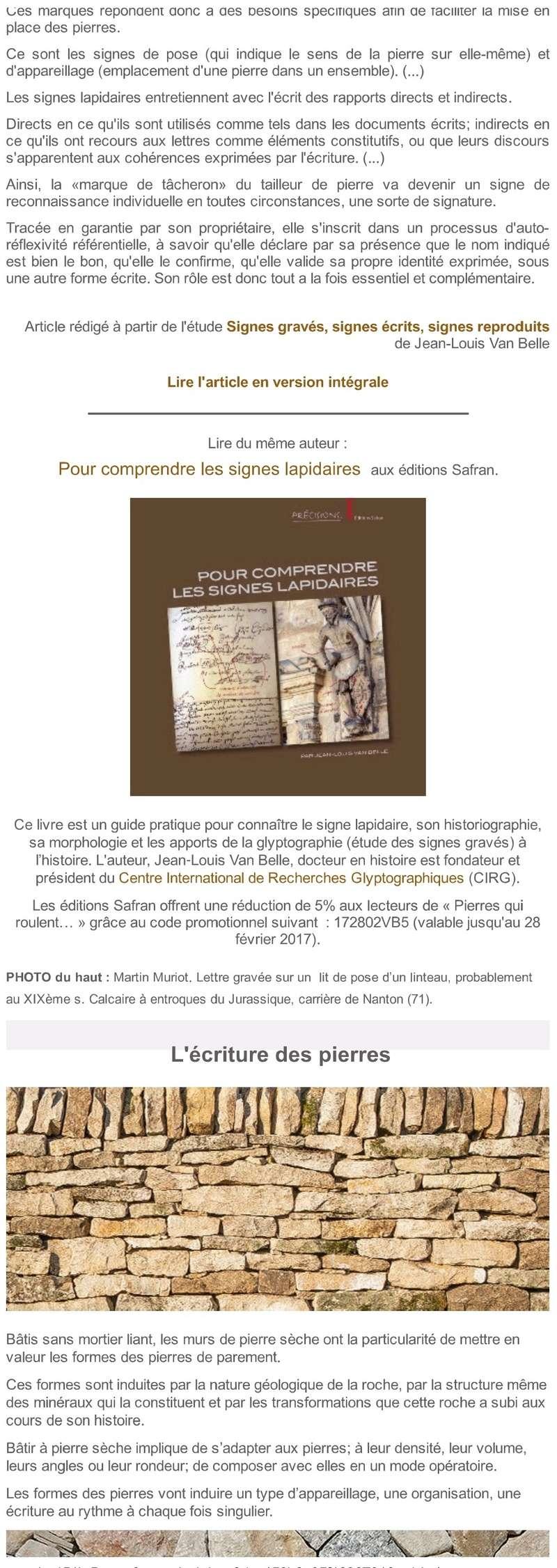 """""""Pierres qui roulent..."""" Saison 16 - l'Ecriture 320"""
