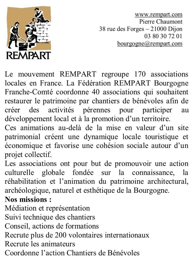 Présentation de l'Association Rempart Bourgigne Rempar10