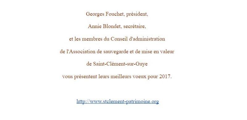 Meilleurs voeux 2017 ! Association de sauvegarde et de mise en valeur  de Saint-Clément-sur-Guye St_cly11