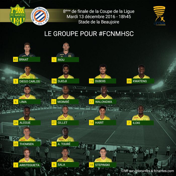 Coupe de la Ligue - 8ème de finale -  Mardi 13 décembre 2016 - 18:45 FC Nantes / Montpellier HSC P1grou16