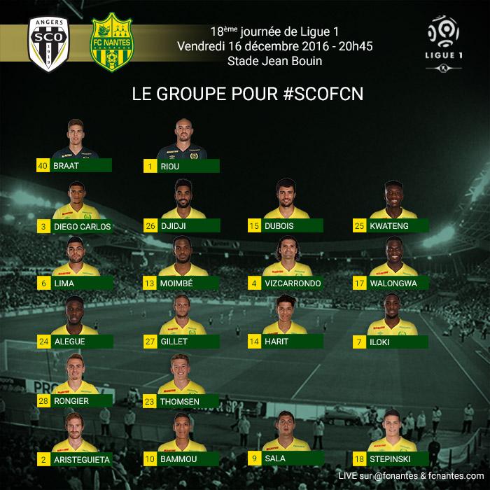 L1 J18  Vendredi 16 décembre 2016 - 20:45 Angers SCO / FC Nantes P1grou17