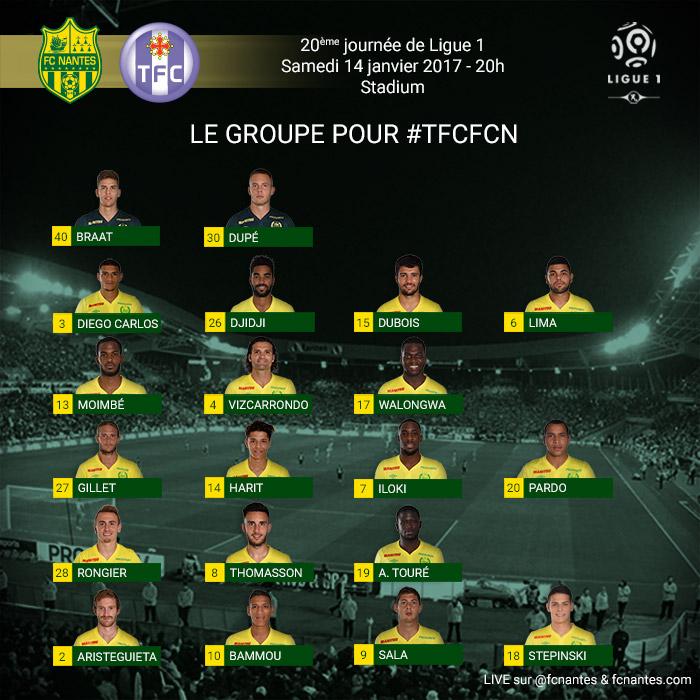 L1 . J20  Samedi 14 janvier 2017 - 20:00 Toulouse FC / FC Nantes P1grou19
