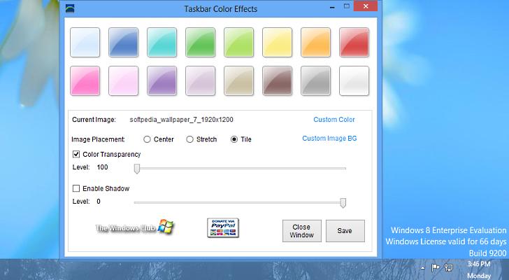 Taskbar Color Effects 1.0 - Αλλαγή χρώματος στη γραμμής εργασιών στα Windows 8 Change10