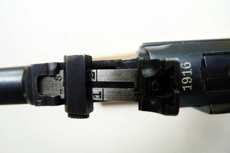 Les hausses et guidons des P 08 Lange Pistol. Dyrive10