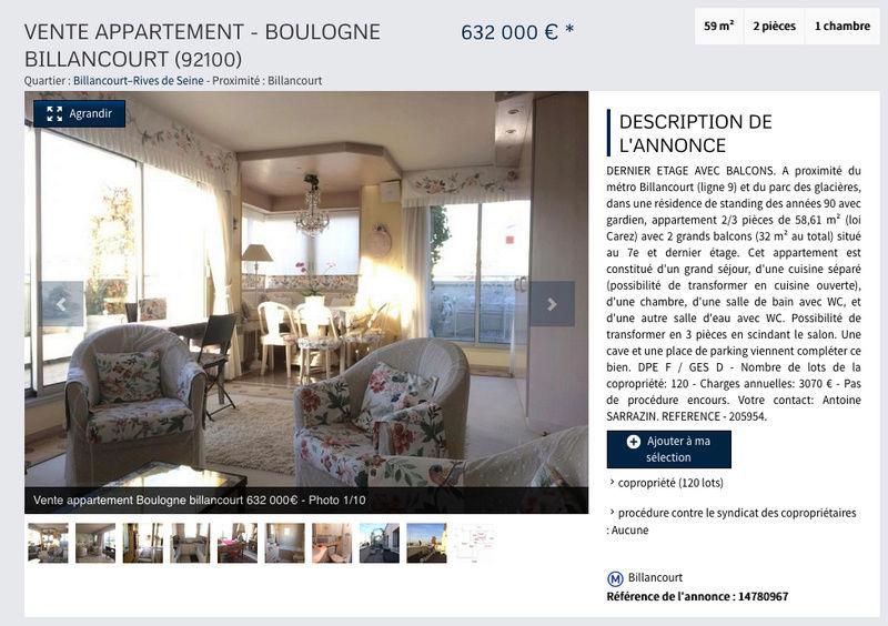 A vendre - 2 pièces 59m2 + 2 balcons (32m2) - dernier étage - proche place Bir Hakeim Captur14