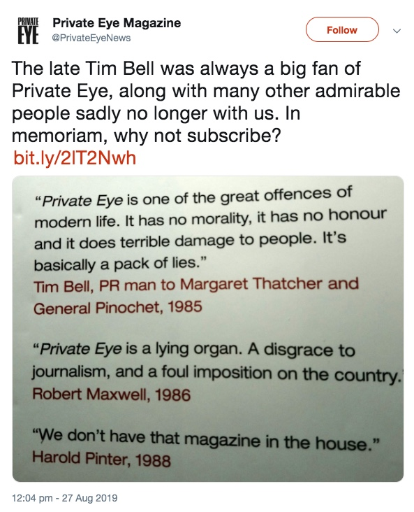 Lord Bell: 'Only the very nicest of the nice could have their reputations bleached and laundered by Bell Pottinger' Pe13