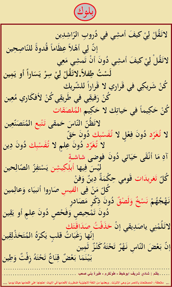 قصيدة بلوك -  بقلم : شادي شريف ابوخيط  N1387110