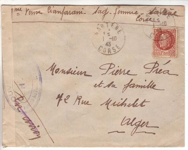 Lettre censurée de Sartène du 01.10.1943 - OH-3. 10002410